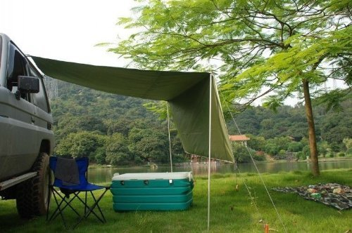 2.8M Awning Camper Trailer Roof Top Tent Beach Camping SUVs Truck Car Rack UV
