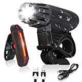 Bike Light - USB Rechargeable Bicycle Light Set - Super Bright LED Headlights and Tail Lights for Mountain Bike and Road Bike Cycling?Safety - Fits for Hybrid, Road, MTB for Night Sports