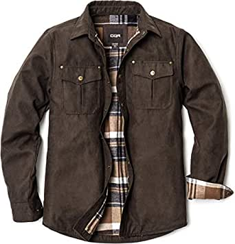 CQR Men's Flannel Long Sleeved Rugged Plaid Cotton Brushed Suede Shirt Jacket HOK700-CBR