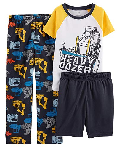 Carter's Boys' 3-Piece Poly Pajama Sets (Yellow/Heavy Dozer, 8)