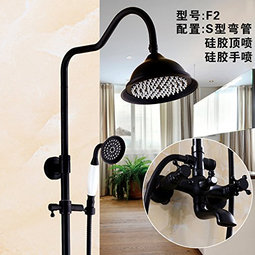 The F2 Hlluya Professional Sink Mixer Tap Kitchen Faucet The pressurization full copper bathroom black shower faucet set antique shower faucet can lift redary,H5