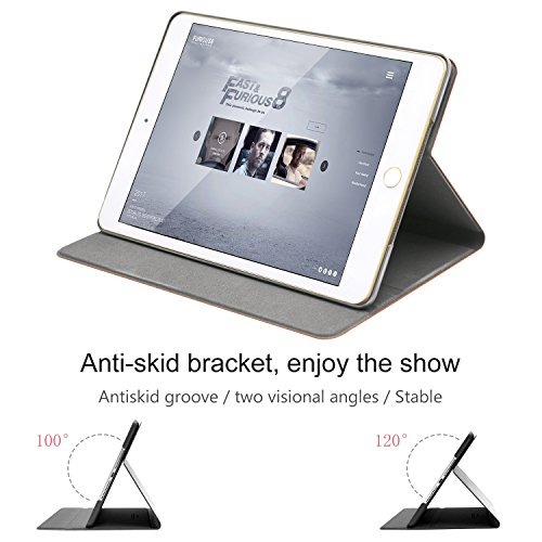 iPad Air 2 Case, AUAUA iPad Air 2 PU Leather Case with Smart Cover Auto Sleep/Wake +Screen Protector for Apple iPad Air 2 (iPad Air 2 case, Air2 Choco Brown) by auaua (Image #4)