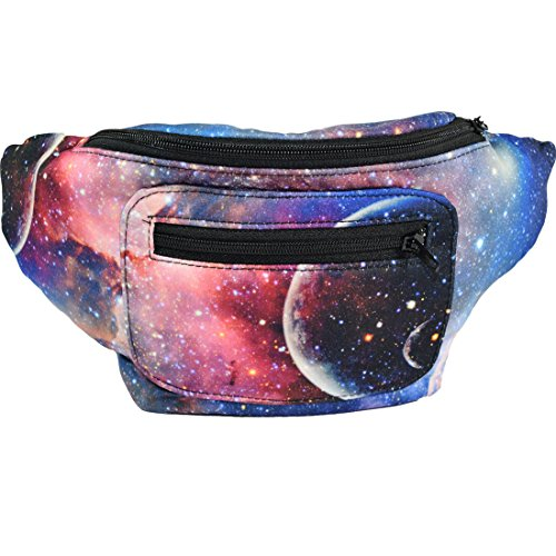 Galaxy Fanny Pack, Space Party Boho Chic Handmade with Hidden Pocket by Santa Playa (Deep Space)