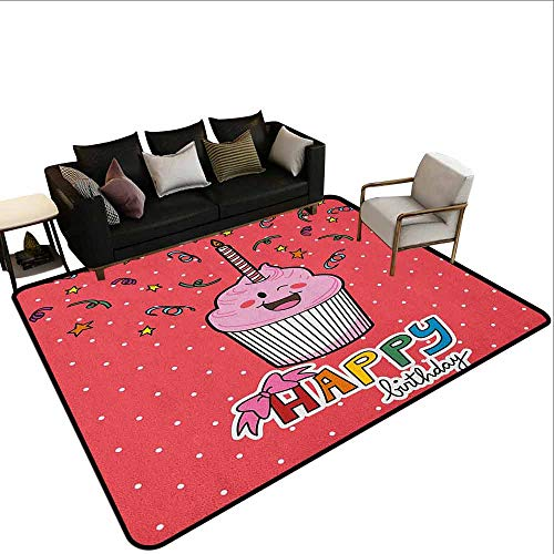 Price comparison product image Bedroom Carpet Birthday, Pink Strawberry Flavor Cupcake with Candle Cute Face Confetti Bow Tie and Dots,  Multicolor