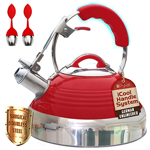 Whistling Tea Kettle Red Hotness with iCool-Handle Technology and 2 Free Infusers for Loose Leaf Tea | Surgical Stainless Steel, Compatible on all Stovetops - Induction or Gas| 2.8 QT Volume by Pykal