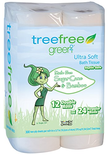 Green2 100% Tree Free 300-Sheet 2-Ply Bathroom Tissue, 12 Count (Pack of - Tree Toilet Paper