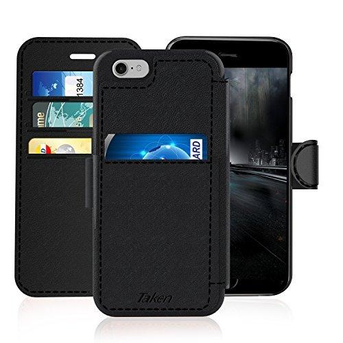TAKEN iPhone 6 Plus Wallet Case with Magnet Belt Clip, Vintage Leather Flip Slim Cover, Card Holder with Credit Cards Slot, Durable Hoslter, for Apple i Phone 6s Plus 5.5 Inch(2014), Black