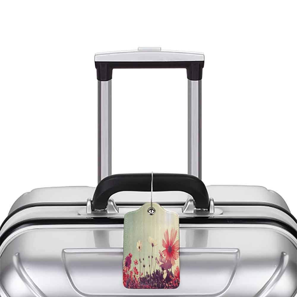 Multicolor luggage tag Digital Modern Futuristic Unusual Design with Robot Woman in Mechanic Clothes Photo Art Hanging on the suitcase Multicolor W2.7 x L4.6