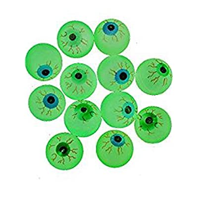 "Dozen Glow in The Dark Rubber Eyeball Bouncy Balls - 1 3/8"": Toys & Games"