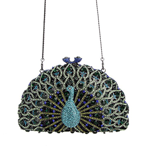 Bag Clutch Peacock For Evening Glitter Bonjanvye Black Dark Crystal Green Girls C0Tnq