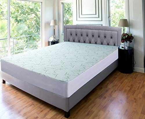 Utopia Bedding Waterproof Bamboo Mattress Protector on a queen mattress in a cream headboard bed with 2 reading lamps on each side