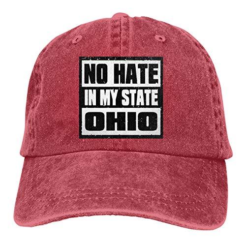 Unisex Adjustable Baseball Cap No Hate in My State Ohio Visor Hat Red