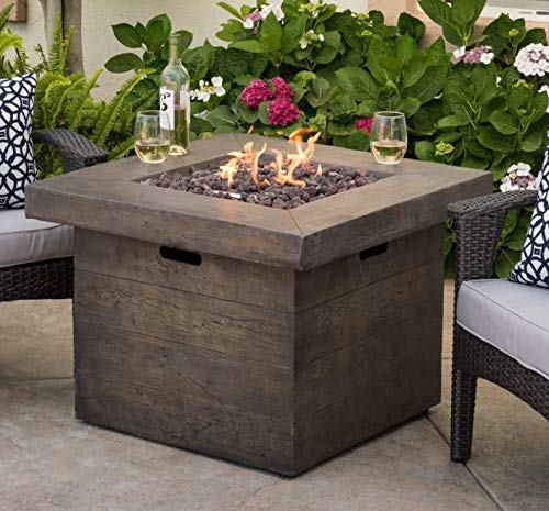 - Jar Outdoor- Firepit Table for Outside-Portable Propane Fire Pit-Cozy Fire Ambiance for Nights Spent at Your Patio-Color Brown Polyresin Light Concrete