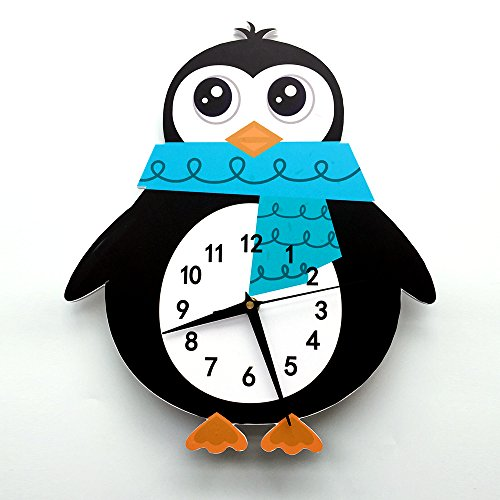 Alwayspon Creative Cartoon Wall Clock Decals for Kids' Bedroom Decor - Self-Adhesive PVC Foam Sticker Clock Silent Non-Ticking (Penguin)