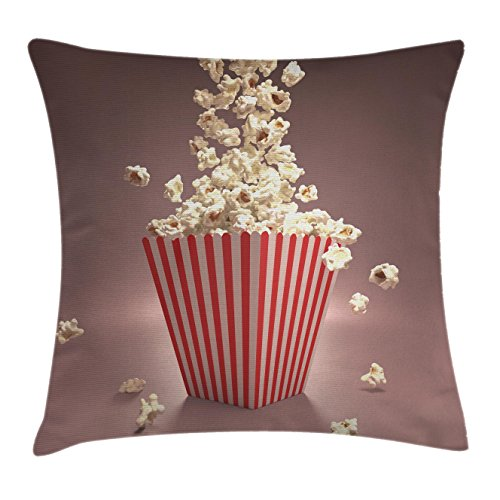 Ambesonne Retro Throw Pillow Cushion Cover, Retro Style Popcorn Art Image Cinema Movie Theater Theme in Classical Display, Decorative Square Accent Pillow Case, 20 X 20 Inches, Light Red White by Ambesonne