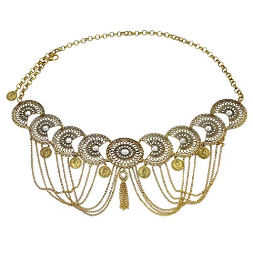 Idealway Vintage Silver/Bronze Waist Chian Hollow Out Carving Rhinestone Crystal Body Chain Summer Beach Body Waist Chain Jewelry (Brown)]()