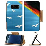 Liili Premium Samsung Galaxy S8 Plus Flip Pu Leather Wallet Case Painted canvas Bird on the sky and rainbow Photo 8031028 Simple Snap Carrying