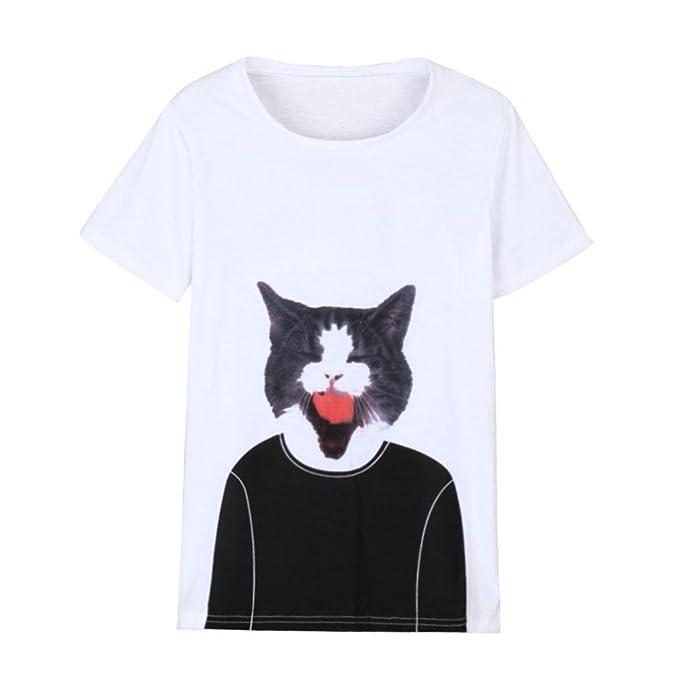 Happy-day Mujer O-Cuello Verano Elegantes Manga Corta Gato Impresión Blusa Tops Camiseta