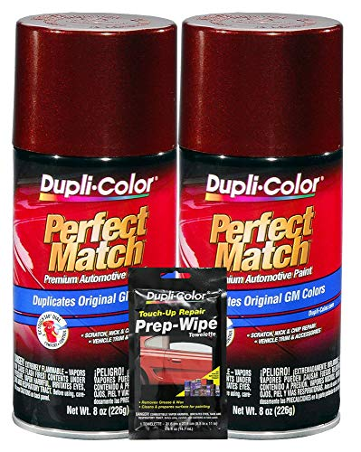 (Dupli-Color Dark Toreador Metallic Exact-Match Automotive Paint for GM Vehicles - 8 oz, Bundles with Prep Wipe (3 Items))