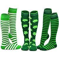3-Pack TeeHee St. Patricks Day Cotton Knee High Socks for Women