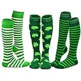 TeeHee St. Patricks Day Cotton Knee High Socks for Women 3-Pack (Stripes)