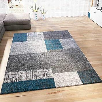 VIMODA Teppich Kurzflor In Türkis Blau Grau Und Weiß Wohnzimmer Teppiche  Modern Kachel Optik Pflegeleicht