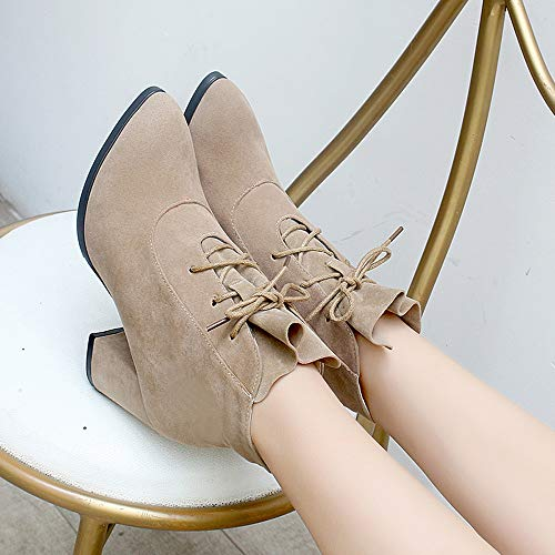 Lace Sexy Boots Color Boots Thick Up Autumn FALAIDUO Suede Shoes Wild Women's Khaki Square Winter Solid Pointed Casual wPHIIq