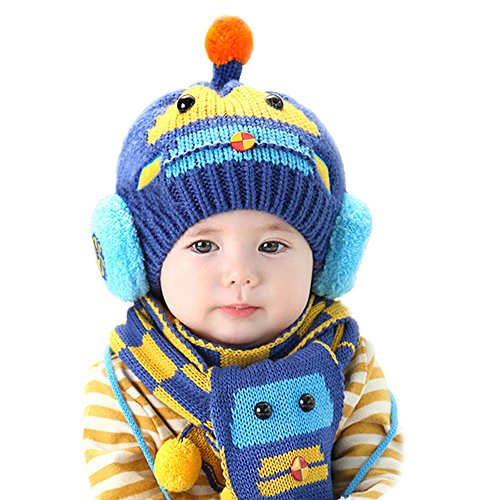 Microcosm Winter Wool Knitted Crochet Cap Scarf Set [Best Christmas Gift] for Infant/Baby/Boys/Girls (Dark Blue) (Free Crochet Baby Layettes)