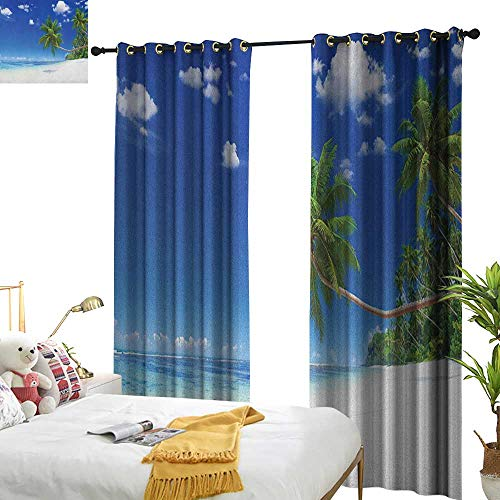 WinfreyDecor Insulated Sunshade Curtain Ocean Coastline Seascape Lagoon with Palm Leaf and Clouds Freedom Holiday Idyllic Darkening and Thermal Insulating W120 x L96 White Blue Green