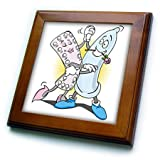 3dRose Sven Herkenrath Funny - A Funny Drawing of a Condom and a Pack of Birth Control Pills Dancing - 8x8 Framed Tile (ft_281717_1)