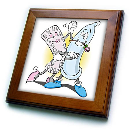 (3dRose Sven Herkenrath Funny - A Funny Drawing of a Condom and a Pack of Birth Control Pills Dancing - 8x8 Framed Tile (ft_281717_1))