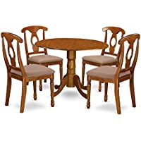 East West Furniture DLNA5-SBR-C 5-Piece Kitchen Nook Dining Table Set, Saddle brown Finish