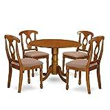 East West Furniture DLNA5-SBR-C 5-Piece Kitchen Nook Dining Table Set, Saddle brown Finish For Sale