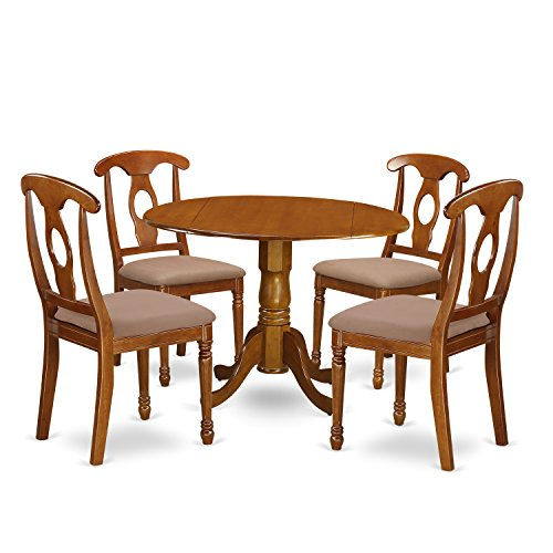 East West Furniture AVPF7-SBR-C 7 Piece Avon With Leaf And Six Microfiber Upholstery Seat Chairs In Saddle Brown (Table Seats Round Dining 6)