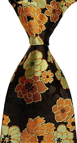 Mr.ZHANG New Classic Florals Brown Gold JACQUARD WOVEN Silk Men's Tie (New Silk Mens Necktie Tie)