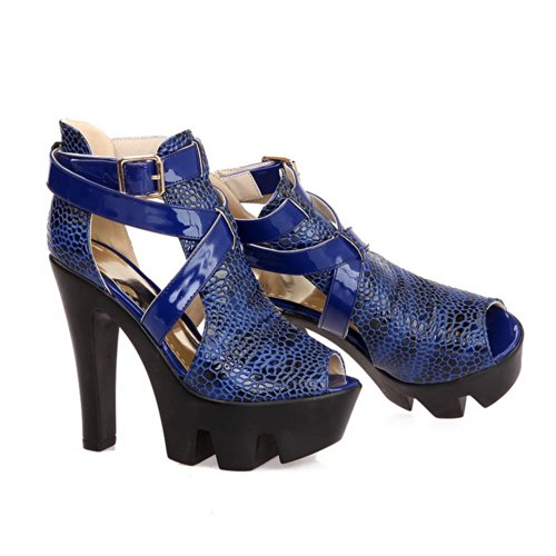 Soft VogueZone009 Platform Blue 5 UK Womens 5 Buckle Toe Material Assorted Open High Heel PU Peep Sandals Heels Colors with Chunky AgvBq41g