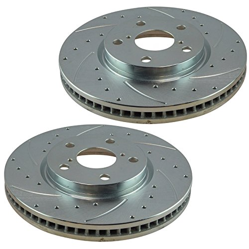 Performance Disc Brake Rotor Drilled & Slotted Front Zinc Coated Pair Set for 2009-2015 Lexus IS250 (Excluding F Sport Models)