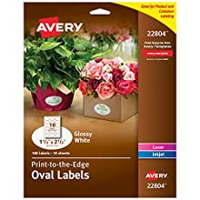 """Avery Oval Labels for Laser & Inkjet Printers, 1.5"""" x 2.5"""", 180 Glossy White Labels (22804)"""