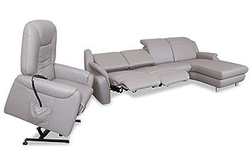 Sofa Couch Leder Ecksofa Mit Sessel Mit Relax Grau Mit Federkern