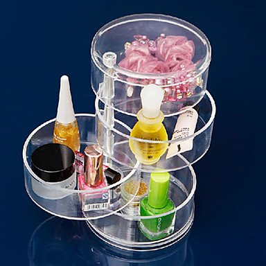 QINF Acrylic Transparent 4 Layer Rotatable Cylinder Shaped Cosmetics Storage Box Cosmetic Organizer