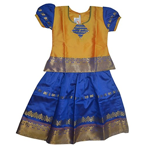 a26e68ac5 Mysilk Saree Girls Pattu Pavada (Orange, 5-6 Years): Amazon.in ...