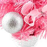 12inch Mini Desk Top Table Top Decorated Christmas Tree with Bows & Baubles Ornaments Decorations, Pink