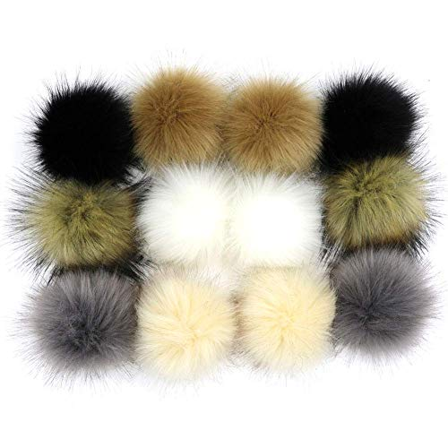 NASHALYLY DIY 12pcs Faux Fox Fur Fluffy Pompom Ball Mix Colors for Hats Shoes Scarves Bag Charms Accessories (A1)