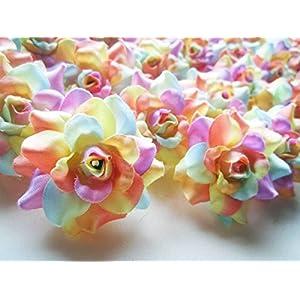 "(100) Silk Light Rainbow Roses Flower Head - 1.75"" - Artificial Flowers Heads Fabric Floral Supplies Wholesale Lot for Wedding Flowers Accessories Make Bridal Hair Clips Headbands Dress 4"