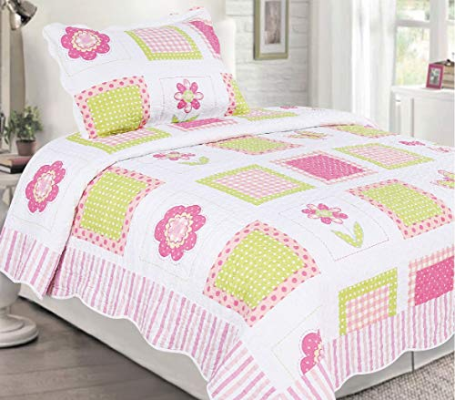 - Sapphire Home 2pc Twin Size Bedspread Quilt Set Bedding for Kids Teens Girls, Patchwork Flowers Pink White Green Coverlet, Twin Bedspread + Pillow Sham, Twin CJ21 Pink Patchwork Flower