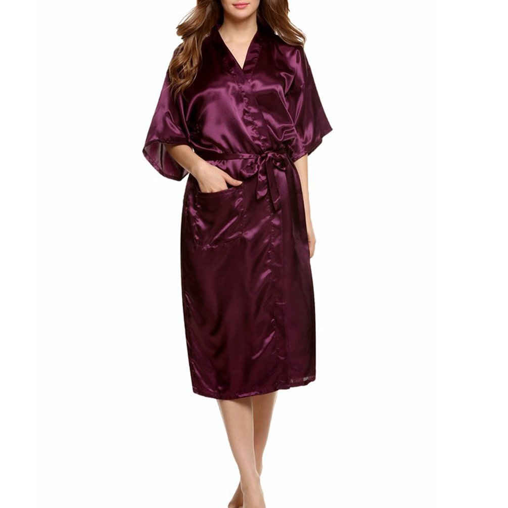 ENJOYNIGHT Women\'s Kimono Robes Satin Pure Colour Long style with Oblique V-Neck Robe (Purple, X-Large)