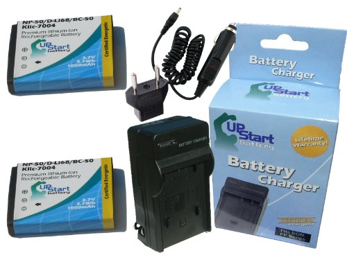 F1 Battery + Charger with Car & EU Adapters - Replacement for Fujifilm NP-50 Digital Camera Battery and Charger (1100mAh, 3.7V, Lithium-Ion) (Np50 Replacement Battery)