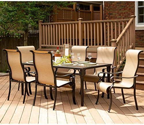 Hanover BRIGDN7PC-GLS-P Brigantine 7-Piece Glass-Top Table Outdoor Patio Dining Set