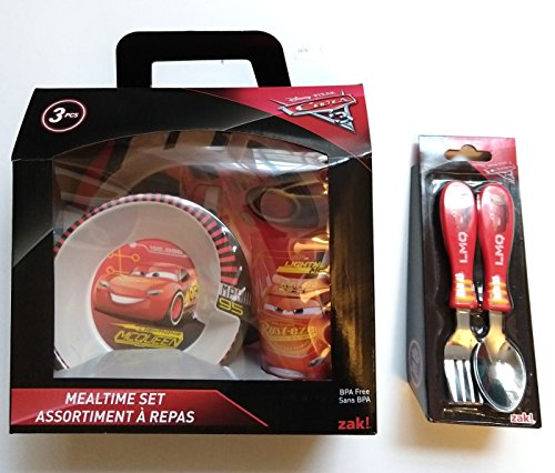 Cars Mealtime Set with Plate, Bowl and Tumbler, Break Resistant and BPA-free Plastic, 5 piece set by Zak! Designs by Zak
