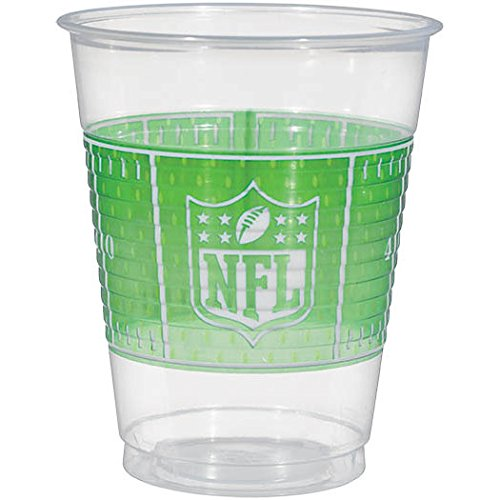 NFL Drive Birthday Party Plastic Cups Tableware, Clear, 16 Ounces, Pack of 25 - Nfl Football Plastic Cup